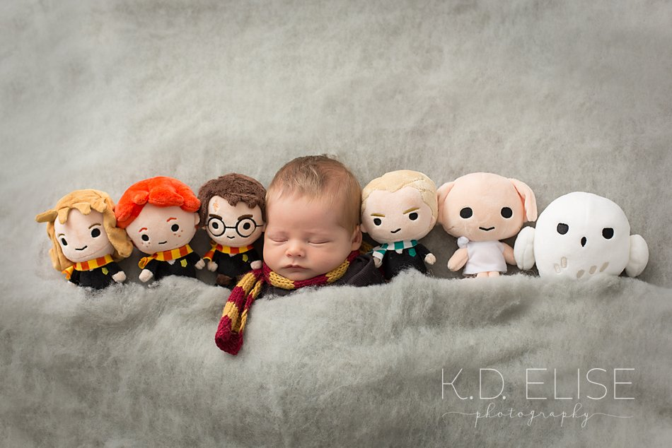 Harry Potter themed newborn photo of baby boy in Gryffindor scarf laying tucked in next to plush Harry Potter characters.
