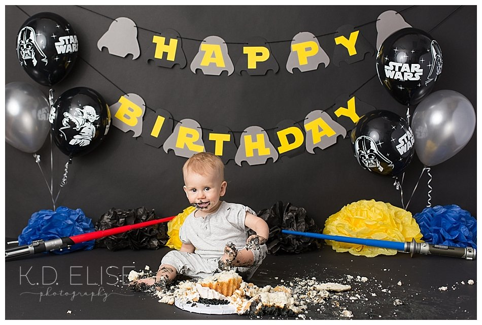 Star Wars themed cake smash first birthday session.