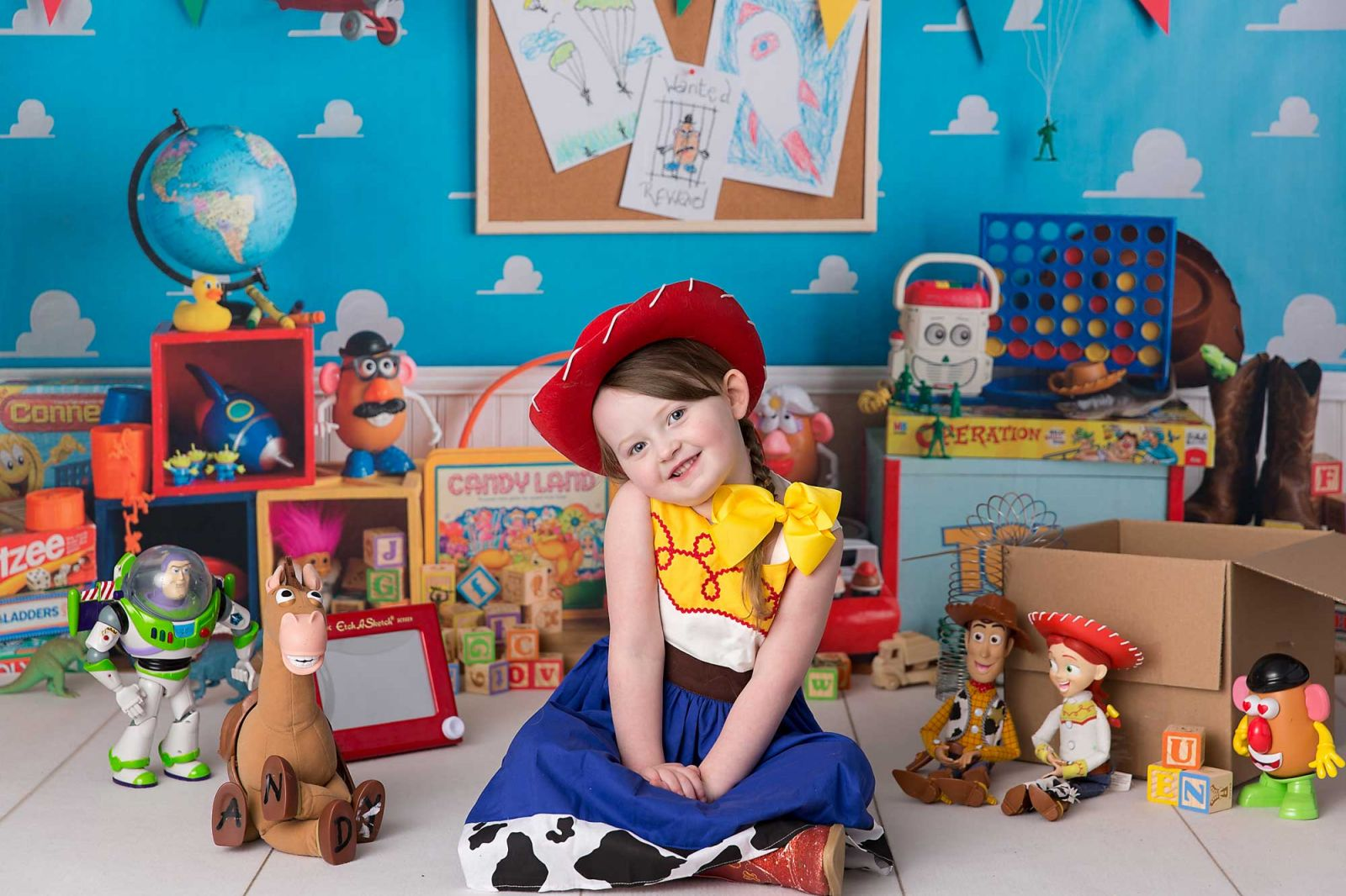 Toy Story themed children's portrait session of 5 year old little girl.